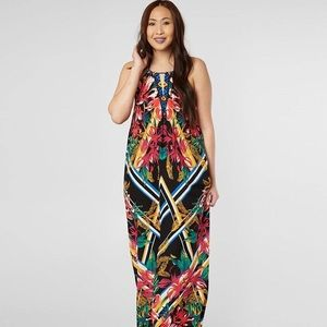 Flying Tomato Tropical High Neck Maxi Dress
